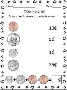US Coin Matching Worksheet by Mrs Murphy's 3rd Grade Magic