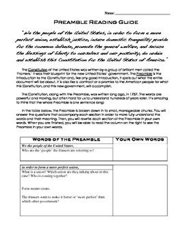 U S Constitution Preamble By Kristen Dembroski Nbct