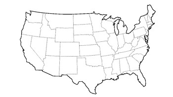 USA Map with State Outlines (excluding Alaska and Hawaii
