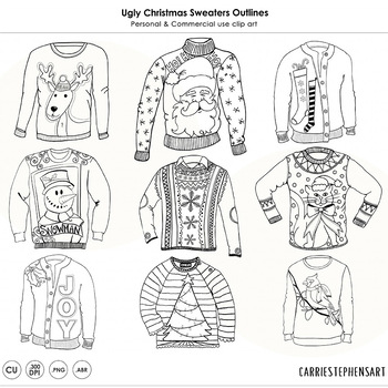 Ugly Christmas Sweater Party ClipArt Outlines! Christmas