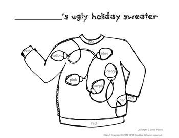 Ugly Sweater Coloring Sheet by A Neighborhood Kindergarten