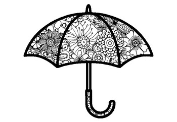 Umbrella Coloring Pages, Spring, Summer, Fall Art Activity
