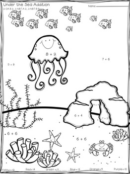 Under the Sea Addition Puzzles Color by Sums to 20 with