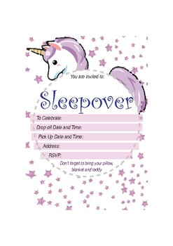 Unicorn Sleepover Invitation By Digital Resource Land TpT