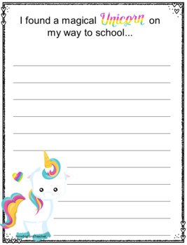 Unicorn Creative Writing Prompts Printable Worksheets By
