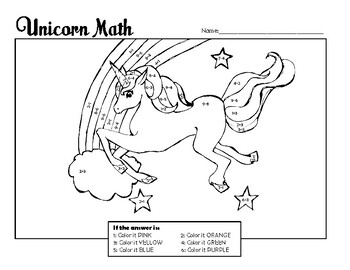 Unicorn Math Color-by-Number (Single Digit Addition and