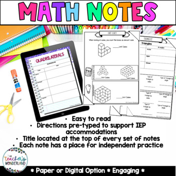 Grade 5- Unit 11- Geometry and Volume Guided Math Notes