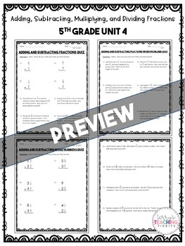 Fraction Quizzes *5th* {Unit 4} by Terry's Teaching