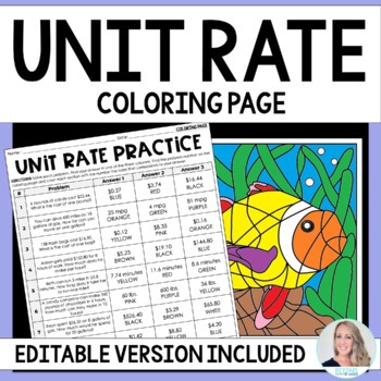 Unit Rate Activity 6RP2 By Lindsay Perro Teachers