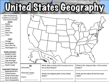 United States Geography Worksheet by Middle School History