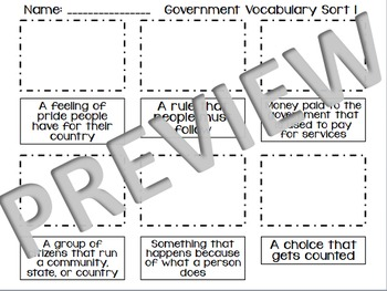 United States Government Vocabulary Sort Bundle for