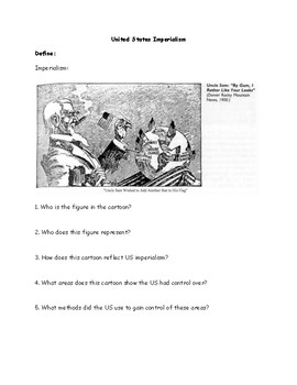 United States Imperialism Political Cartoon Worksheet by