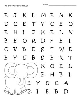 Uppercase A-Z letter search printable worksheets by