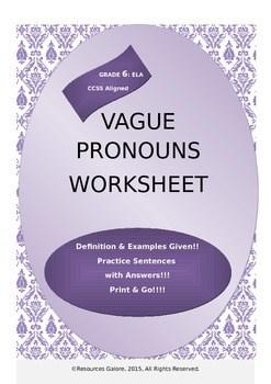 Vague Pronouns Worksheet By Resources Galore