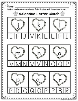 Valentine Abc Letter Matching Printables By Linda S Loft