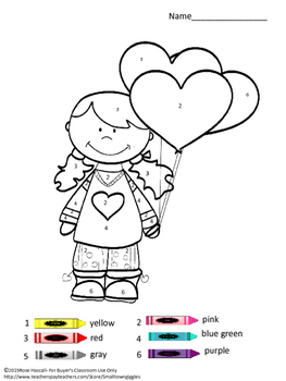 Valentine's Day, Color by Code Special Education Math