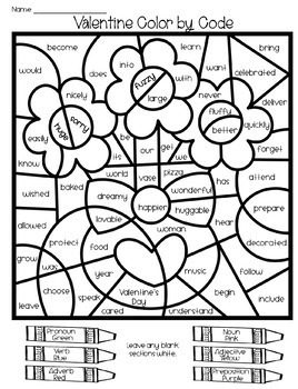 Valentine Grammar Coloring Pages Parts of Speech by Love