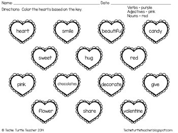 Valentine's Day Heart Nouns, Adjectives, and Verbs