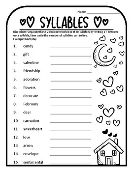 Valentine Syllables Worksheet Valentines Syllable Count