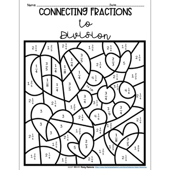 Connecting Fractions to Division Word Problems Color by