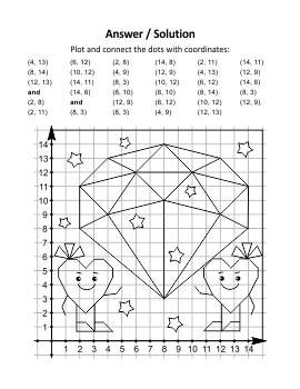 Valentine's Day Coordinate Graphing and Coloring Page