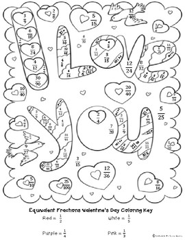 Valentine's Day Equivalent Fractions Coloring by Unafraid