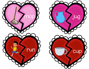 Valentines Day CVC Puzzles Center Word Work Reading