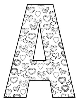 Valentine's Day Letter Coloring Pages ~ Upper and Lower