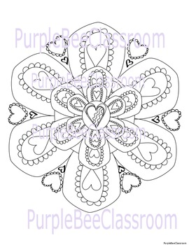 Valentine's Day Mandala Coloring Page by The Purple Bee