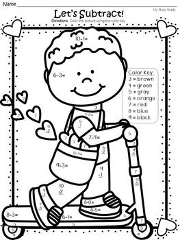 Valentine's Day Activities: Color by Number Addition