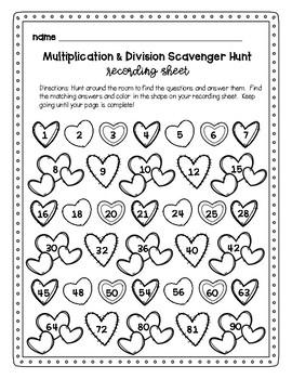 Valentine's Day Multiplication and Division Scavenger Hunt