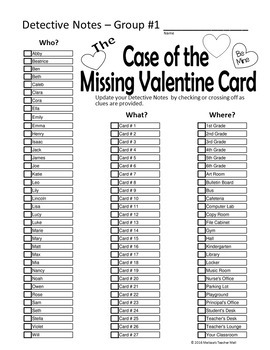 Valentine's Day Game Mystery Who Done It Game by Melissa's
