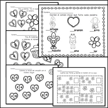 Valentine's Day Spanish Language Arts & Math Packet by
