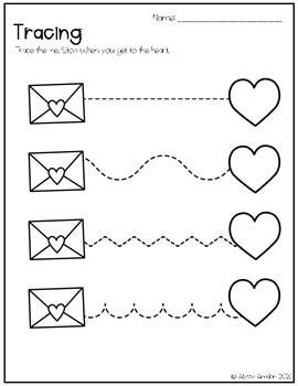 Valentine's Day Tracing Worksheets by Sunshine Through the