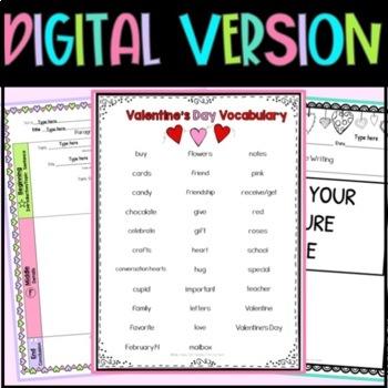Valentine's Day Writing Sentence Starters Frames