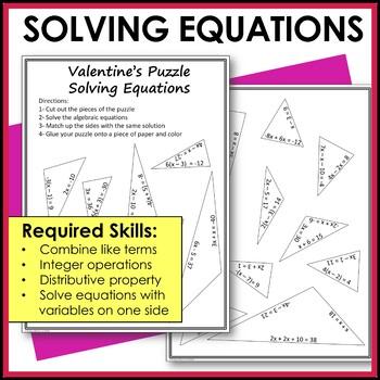 Algebraic Equations Valentine's Activity Middle School