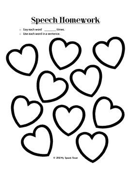 Valentine's Day Articulation Homework by My Speech and