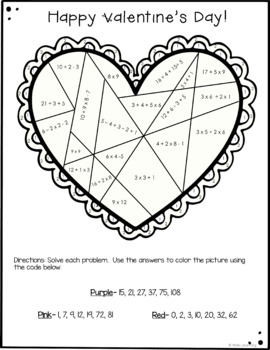 Valentine's Day Color by Number- Multiplication, Division