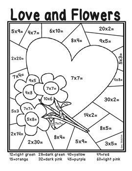 Valentine's Day Color by Number Multiplying Freebie by Amy