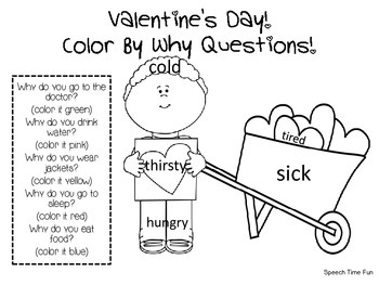 Valentine's Day Color by WHY Questions by Speech Time Fun
