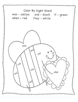 Valentine's Day Coloring Pages and Sight Word by Learning