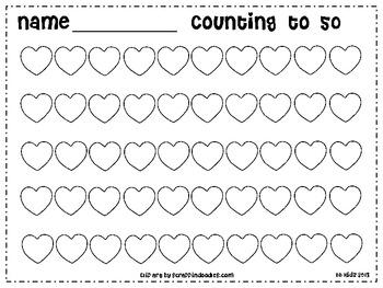 Free Kindergarten Valentine Counting Hearts to 50 / Math