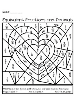 Valentine's Day Equivalent Fractions and Decimals Activity