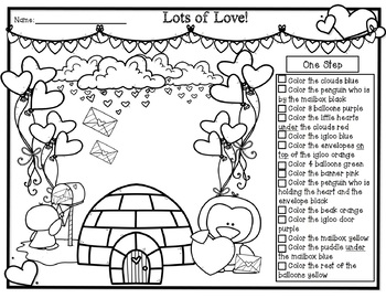 Valentines Day Following Directions Coloring Bundle! by