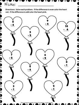 Valentine's Day Free Subtraction Worksheet by Educating