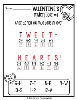 Valentines Day Math Worksheets by Katelyn's Learning