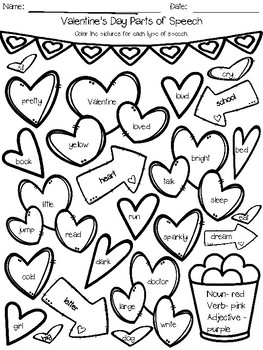 Valentines Day Parts of Speech Coloring Activities by