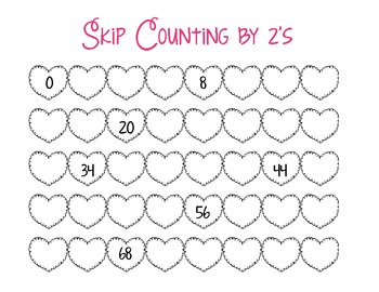 Valentine's Day Skip Counting/Coloring by 10's and Skip