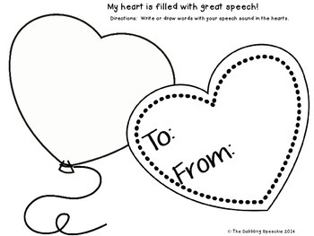 Valentine's Day Themed Print N' Go Speech & Language