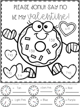 Valentines Telling Time Color-By-Number by CreatedbyMarloJ